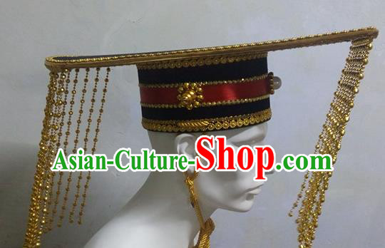 Traditional Ancient Chinese Classical Peking Opera Props, Han Dynasty Emperor Headwear Royal Coronet King Hat for Men