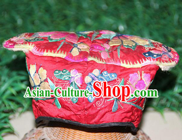 Traditional Chinese Miao Nationality Crafts Hmong Handmade Children Embroidery Butterfly Red Tiger Headwear, Miao Ethnic Minority Exorcise Evil Tiger Hat for Kids