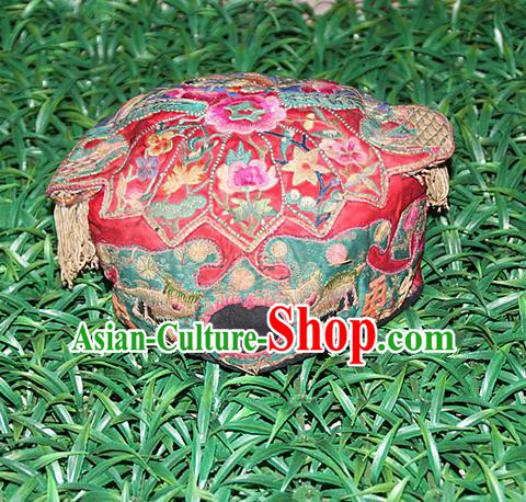 Traditional Chinese Miao Nationality Crafts Hmong Handmade Children Embroidery Flowers Red Tiger Headwear, Miao Ethnic Minority Exorcise Evil Tiger Hat for Kids