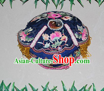 Traditional Chinese Miao Nationality Crafts Hmong Handmade Children Embroidery Flowers Blue Tiger Headwear, Miao Ethnic Minority Exorcise Evil Tiger Hat for Kids