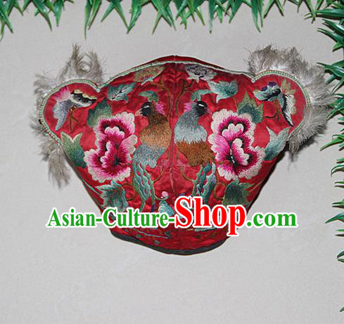 Traditional Chinese Miao Nationality Crafts Hmong Handmade Children Embroidery Flowers Phoenix Red Tiger Headwear, Miao Ethnic Minority Exorcise Evil Tiger Hat for Kids