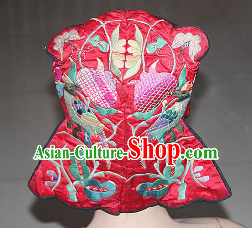 Traditional Chinese Miao Nationality Crafts Hmong Handmade Children Embroidery Phoenix Bird Tiger Headwear, Miao Ethnic Minority Exorcise Evil Tiger Hat for Kids