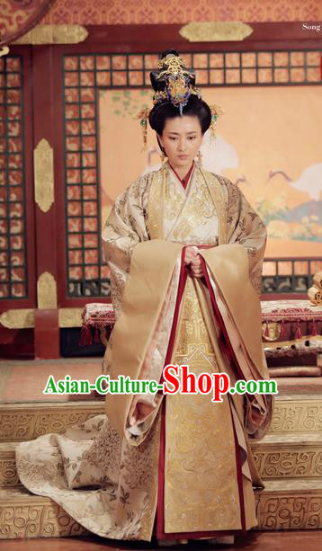 Traditional Ancient Chinese Imperial Empress Costume, Elegant Hanfu Palace Lady Queen Dress, Chinese Warring States Period Imperial Empress Tailing Embroidered Phoenix Clothing for Women