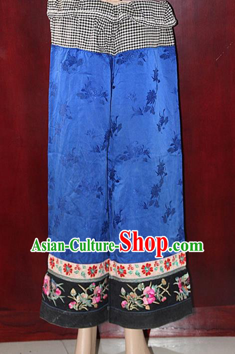 Chinese Hmong Miao Nationality Folk Dance Ethnic Handmade Trousers China Clothing Costume Embroidery Pants Ethnic Pants Cultural Dances Costumes for Women