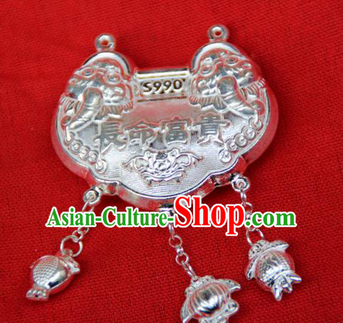 Traditional Chinese Miao Ethnic Minority Miao Silver Longevity Lock for Children