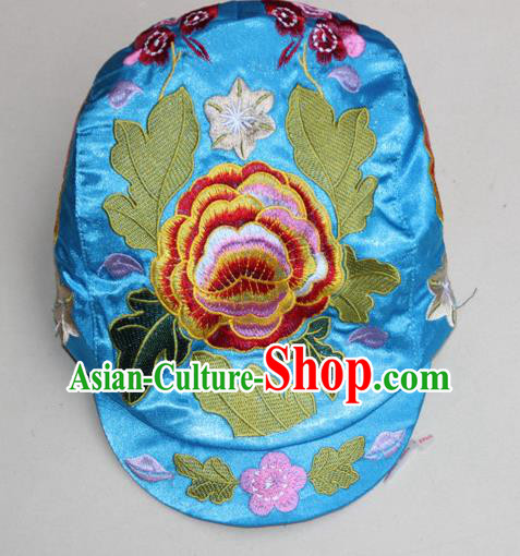 Traditional Chinese Miao Ethnic Minority Satin Cloth Embroidery Phoenix Cap, Hmong Handmade Peak Cap for Women