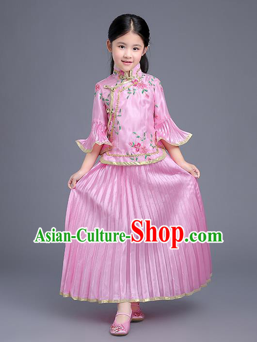 Traditional Ancient Chinese Imperial Emperess Costume, General Chai and Lady Balsam Costume, Chinese Qing Dynasty Republic of China Children Dress, Cosplay Chinese Peri Imperial Princess Clothing Hanfu for Kids