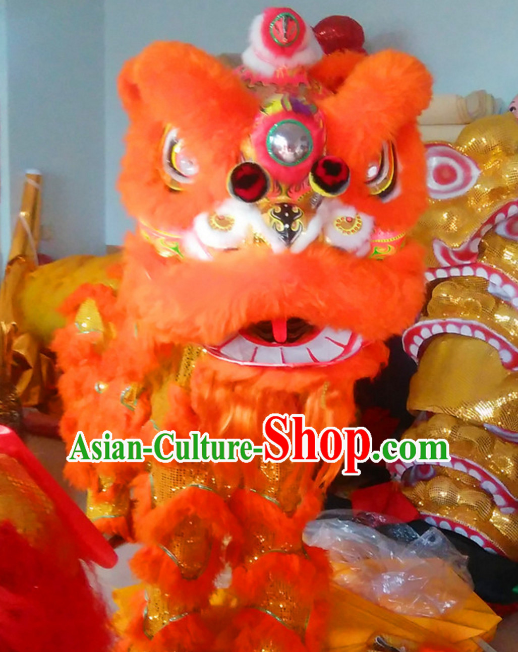 Simple Orange NEW 100_ Natural Wool Chinese Lion Dance Costumes Complete Set