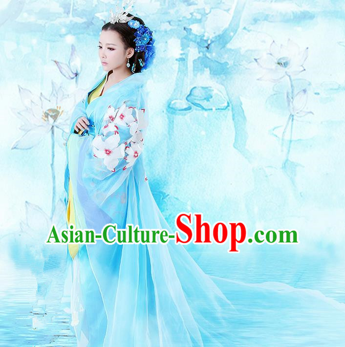 Traditional Ancient Chinese Imperial Emperess Costume, Chinese Han Dynasty Wedding Dress, Cosplay Chinese Princess Embroidered Tailing Clothing Hanfu Costume for Women