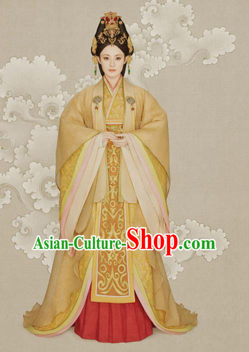 Traditional Ancient Chinese Imperial Emperess Costume, Chinese Han Dynasty Imperial Consort Dress, Cosplay Chinese Emperess Embroidered Clothing Phoenix Hanfu for Women