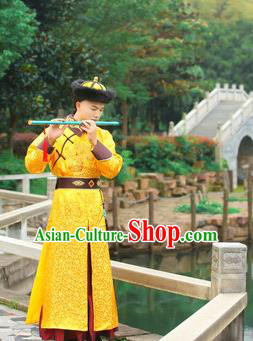 Traditional Ancient Chinese Qing Dynasty Imperial Prince Robes, Qing Dynasty Manchu Imperial Emperor Dragon Yellow Costumes for Men