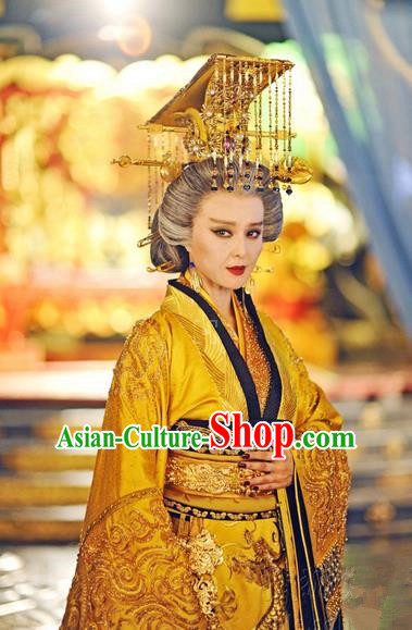 Traditional Ancient Chinese Empress Costume, Chinese Tang Dynasty Wu zetian Dress, Cosplay Chinese Imperial Queen Embroidered Tailing Clothing for Women