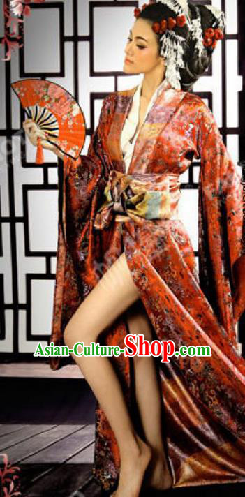 Traditional Ancient Chinese Imperial Emperess Costume, Chinese Tang Dynasty Sexy Kimono Dress, Cosplay Chinese Imperial Consort Clothing for Women