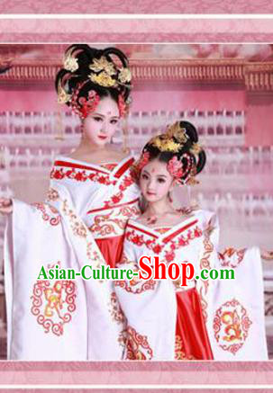 Traditional Ancient Chinese Imperial Emperess Mother and Daughter Outfit Costume Complete Set, Chinese Tang Dynasty Parent-Child Woman Dress, Cosplay Chinese Family Portrait Clothing Hanfu for Women for Children