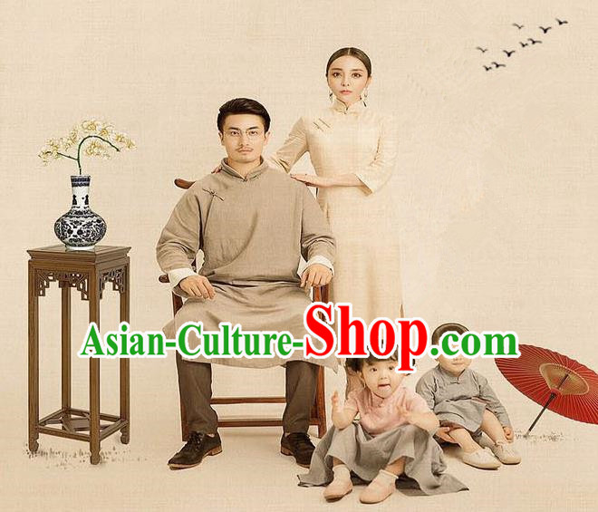 Traditional Ancient Chinese Family Costume Complete Set, Chinese Republic of China Parent-Child Dress, Cosplay Chinese Family Portrait Clothing Hanfu for Women for Men for Children