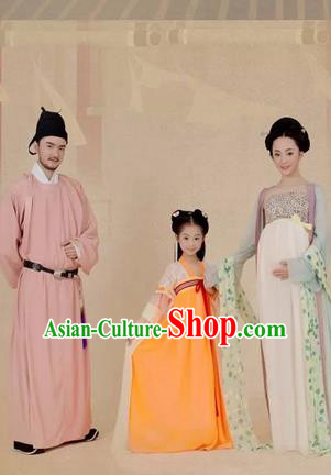 Traditional Ancient Chinese Family Costume Complete Set, Chinese Tang Dynasty Parent-Child Pregnant Woman Dress, Cosplay Chinese Family Portrait Clothing Hanfu for Women for Men for Children