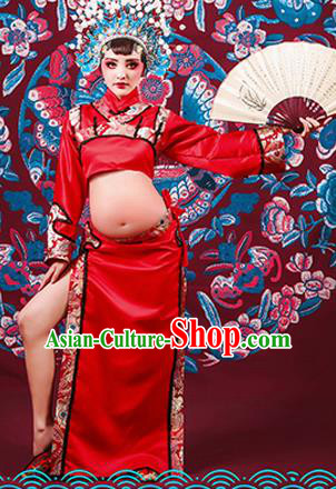 Traditional Ancient Chinese Peking Opera Costume, Chinese Han Dynasty Dance Dress, Cosplay Chinese Peri Imperial Empress Clothing for Pregnant Women