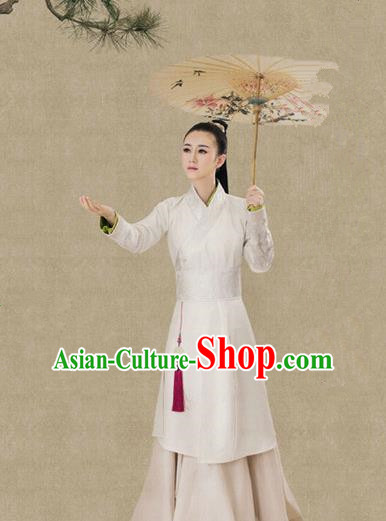 Traditional Ancient Chinese Female Costume, Chinese Tang Dynasty Swordswoman White Dress, Cosplay Chinese Chivalrous Swordsman Clothing for Women