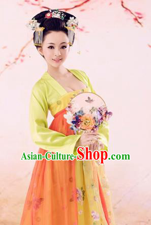 Traditional Ancient Chinese Imperial Emperess Costume, Chinese Tang Dynasty Dance Dress, Chinese Peri Imperial Princess Butterfly Hanfu Clothing for Women
