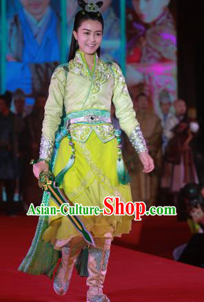 Traditional Ancient Chinese Female Costume, Chinese Tang Dynasty Swordswoman Green Dress, Cosplay Chinese Chivalrous Swordsman Clothing for Women