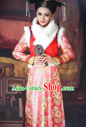 Traditional Ancient Chinese Imperial Concubine Costume, Chinese Qing Dynasty Manchu Lady Dress, Cosplay Chinese Manchu Minority Princess Embroidered Clothing for Women