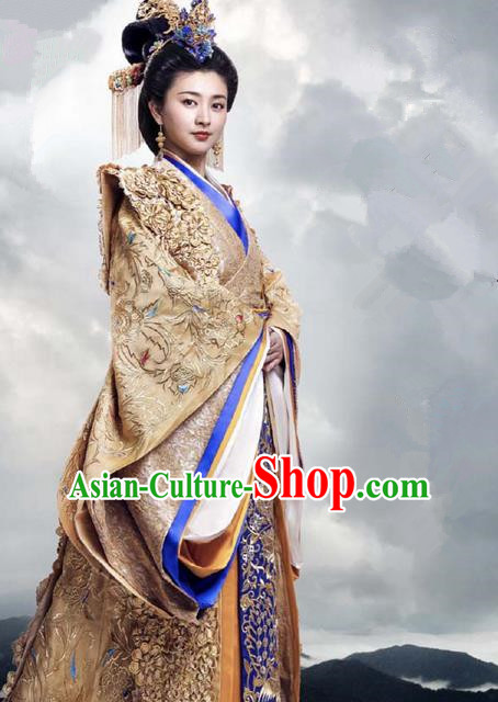 Traditional Ancient Chinese Imperial Emperess Costume, Chinese Han Dynasty Queen Wedding Dress, Cosplay Chinese Emperess Embroidered Clothing Phoenix Hanfu for Women