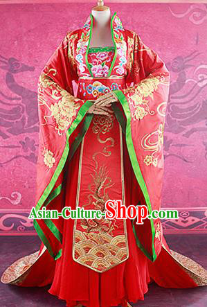 Traditional Ancient Chinese Imperial Consort Costume, Chinese Tang Dynasty Yang Yuhuan Emperess Wedding Dress, Cosplay Chinese Imperial Concubine Embroidered Clothing for Women