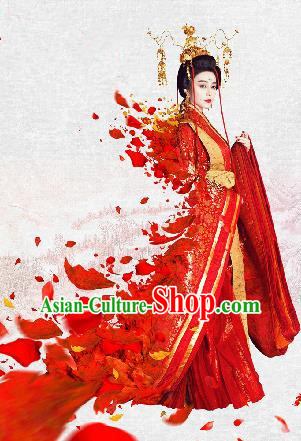Traditional Ancient Chinese Imperial Consort Costume, Chinese Tang Dynasty Yang Lady Red Dress, Cosplay Chinese Imperial Concubine Embroidered Clothing for Women
