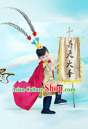 Traditional Chinese Son Goku Dancing Costume, Children Folk Dance Sun Wukong Skirt, Chinese Sun Wukong Costume for Kids