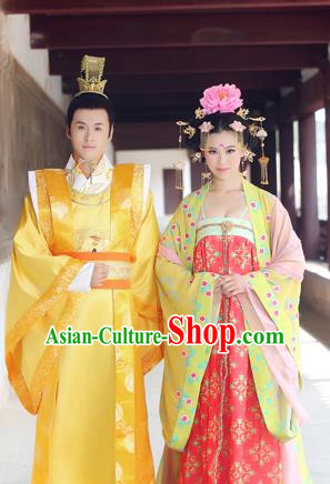 Traditional Ancient Chinese Imperial Emperess and Emperor Costume Complete Set, Chinese Tang Dynasty Emperess Wedding Dress, Chinese Emperess Emperor Embroidered Phoenix and Dragon Trailing Clothing for Women for Men