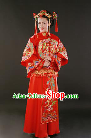Traditional Ancient Chinese Costume Xiu he Suits, Chinese Style Wedding Red Dress, Embroidered Dragon and Phoenix Flown Bride Cheongsam for Women