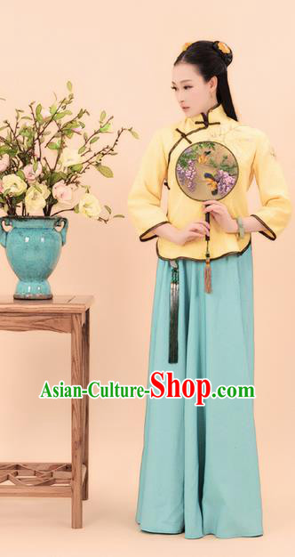 Traditional Ancient Chinese Costume, Chinese Late Qing Dynasty Young Lady Dress, Republic of China Embroidered Clothing for Women