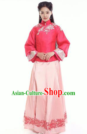 Traditional Ancient Chinese Costume, Chinese Late Qing Dynasty Young Lady Dress Red Blouse, Republic of China Embroidered Clothing for Women