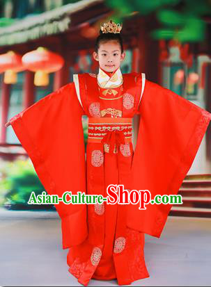 Traditional Ancient Chinese Imperial Emperor Children Costume, Chinese Tang Dynasty Boys Dress, Cosplay Chinese Majesty Embroidered Clothing Hanfu Complete Set for Kids