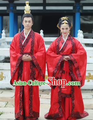 Traditional Ancient Chinese Imperial Emperess and Emperor Costume Complete Set, Chinese Han Dynasty Bride and Bridegroom Wedding Red Dress, Chinese Emperess Emperor Embroidered Phoenix and Dragon Trailing Clothing for Women for Men