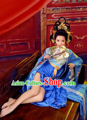 Traditional Ancient Chinese Imperial Emperess Costume, Chinese Tang Dynasty Dance Dress, Chinese Peri Imperial Princess Blue Hanfu Clothing for Women