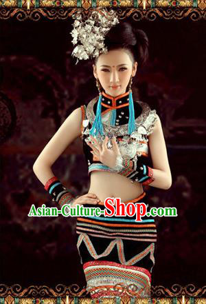 Traditional Chinese Miao Nationality Dancing Costume, Hmong Female Folk Dance Ethnic Skirt, Chinese Minority Nationality Embroidery Costume for Women