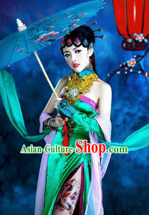 Traditional Ancient Chinese Peking Opera Imperial Consort Costume, Chinese Han Dynasty Peking Opera Lady Dress, Cosplay Chinese Imperial Concubine Clothing Hanfu for Women