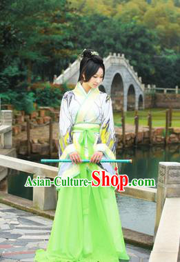 Traditional Ancient Chinese Imperial Emperess Costume, Chinese Han Dynasty Princess Young Lady Chiffon Dress, Cosplay Chinese Peri Concubine Embroidered Hanfu Green Clothing for Women