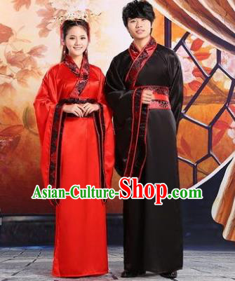 Traditional Ancient Chinese Imperial Emperess and Emperor Costume Complete Set, Chinese Han Dynasty Bride and Bridegroom Wedding Red Dress, Chinese Emperess Emperor Trailing Clothing for Women for Men