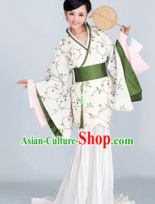 Traditional Ancient Chinese High-Grade Imperial Princess Costume, Chinese Han Dynasty Young Lady Elegant Dress, Cosplay Chinese Fairy Clothing White Embroidered Hanfu for Women