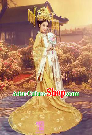 Traditional Ancient Chinese High-Grade Imperial Consort Costume, Chinese Han Dynasty Lady Dress, Cosplay Chinese Imperial Concubine Clothing Trailing Hanfu for Women
