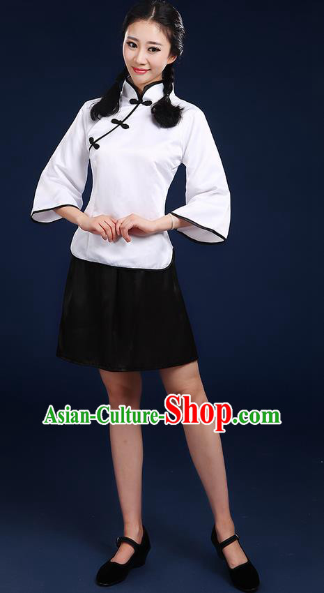 Traditional Chinese Style Modern Dancing Compere Costume, Women Opening Chorus Singing Group Classic Dance May 4th Movement Students Uniforms, Modern Dance Classic Dance White Blouse and Skirt for Women