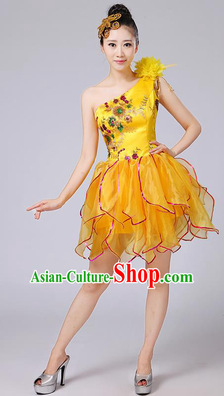 Traditional Chinese Modern Dancing Compere Costume, Women Opening Classic Dance Chorus Singing Group Bubble Embroidered Uniforms, Modern Dance Classic Dance Big Swing Gold Short Dress for Women