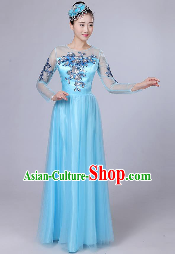 Traditional Chinese Modern Dancing Compere Costume, Women Opening Classic Dance Chorus Singing Group Paillette Flowers Bubble Uniforms, Modern Dance Classic Dance Big Swing Blue Long Dress for Women