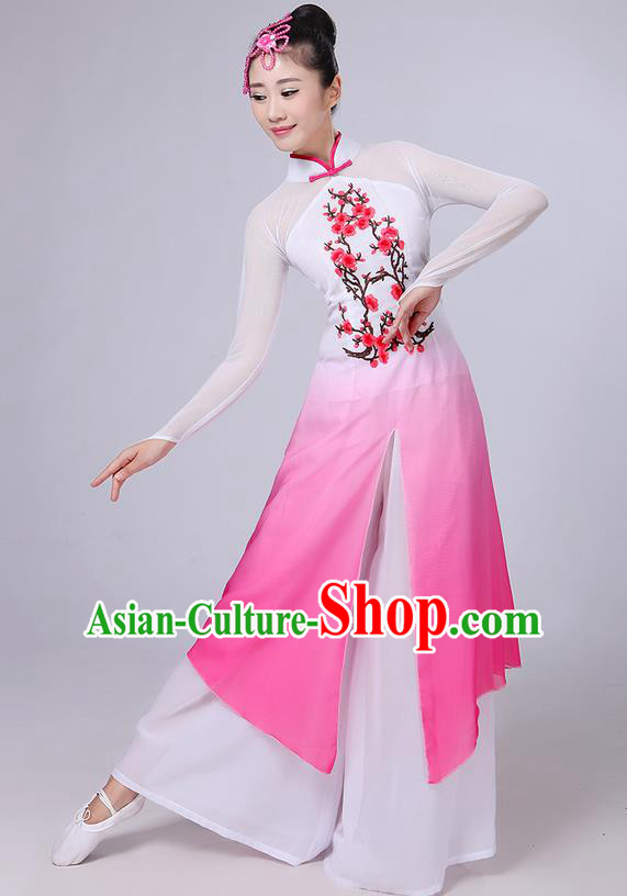 Traditional Chinese Yangge Fan Dancing Costume, Folk Dance Yangko Mandarin Collar Painting Plum Blossom Uniforms, Classic Dance Elegant Dress Drum Dance Clothing for Women
