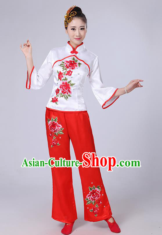 Traditional Chinese Yangge Fan Dancing Costume, Folk Dance Yangko Mandarin Collar Peony Embroidery Blouse and Pants Uniforms, Classic Dance Elegant Dress Drum Dance Clothing for Women