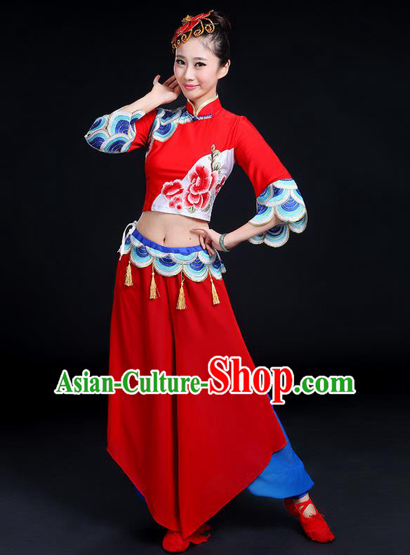 Traditional Chinese Yangge Fan Dancing Costume, Folk Dance Yangko Mandarin Collar Peony Tassel Blouse and Pants Uniforms, Classic Dance Elegant Dress Drum Dance Clothing for Women