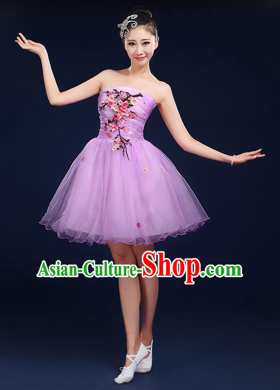 Traditional Chinese Modern Dancing Compere Costume, Women Opening Classic Dance Chorus Singing Group Embroidered Plum Blossom Bubble Uniforms, Modern Dance Classic Dance Big Swing Purple Short Dress for Women