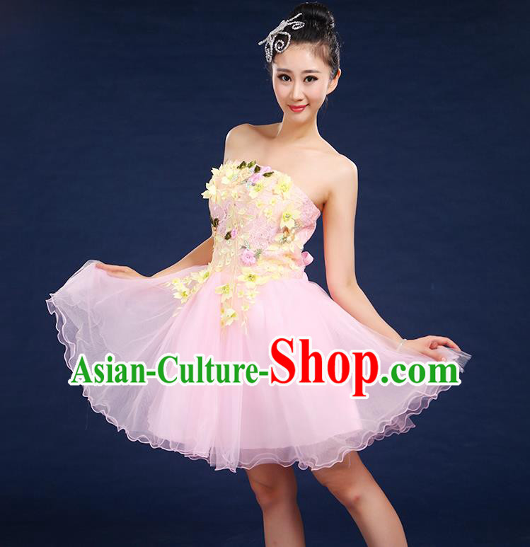 Traditional Chinese Modern Dancing Compere Costume, Women Opening Classic Dance Chorus Singing Group Embroidered Plum Blossom Bubble Uniforms, Modern Dance Classic Dance Big Swing Pink Short Dress for Women